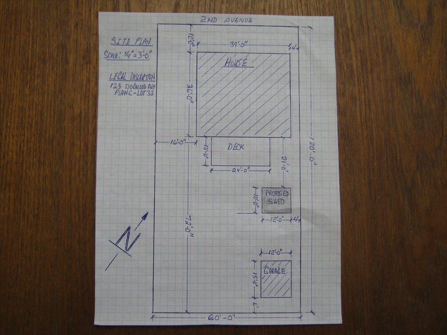 Example Site Plan for outdoor Storage Shed