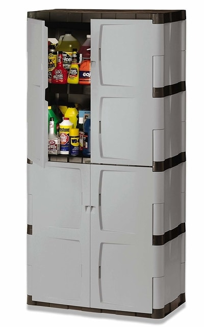 Rubbermaid Four-Shelf Double-Door Resin Storage Cabinet